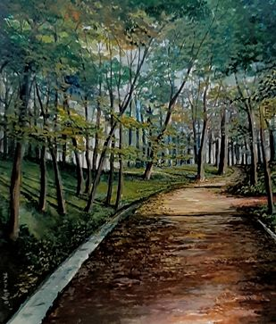 The walk by Nirmallyo Ghosh, Impressionism Painting, Acrylic on Paper, Heavy Metal color