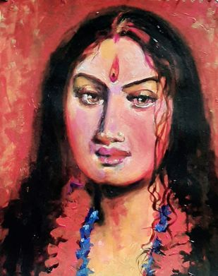 She by Nirmallyo Ghosh, Expressionism Painting, Acrylic & Ink on Paper, Fuzzy Wuzzy Brown color