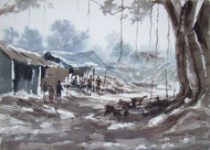 MORNING LIGHT by Jiaur Rahman, Impressionism Painting, Watercolor on Paper, Oslo Gray color