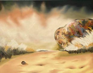 SAJDA by Geeta Vadhera, Abstract Painting, Oil on Canvas, Tumbleweed color