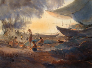 FISHERMEN AND THE BOATS by Jiaur Rahman, Impressionism Painting, Watercolor on Paper, Taupe color