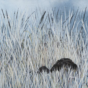 The Wild Grass by Priyanka Waghela, Expressionism Painting, Acrylic on Canvas, Tower Gray color
