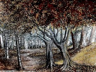 THE AUTUMN by Nirmallyo Ghosh, Impressionism Painting, Acrylic on Paper, Tea color