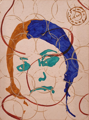 """Woman Face, Acrylic on paper by Contemporary Artist """"In Stock"""" by Pampa Panwar, Expressionism Painting, Acrylic on Paper, Eunry color"""