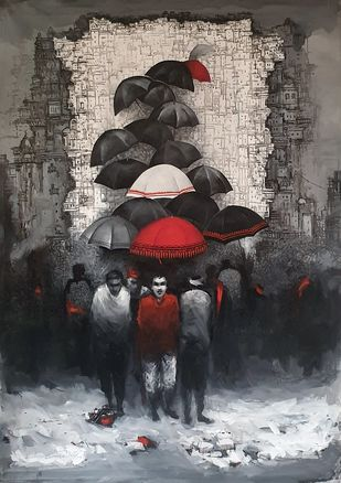 Monsoons II by Dilip Chaudhury, Impressionism Painting, Acrylic on Canvas, Masala color