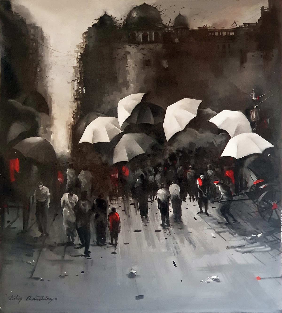 A Rainy Day in the Monsoons of Kolkata by Dilip Chaudhury, Impressionism Painting, Acrylic on Canvas, Merlin color