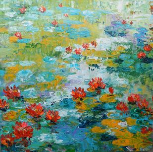Breathing Blooms by Nandita Richie, Expressionism Painting, Acrylic on Canvas, Envy color