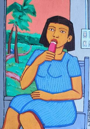 Girl Eating An Ice-cream by Ashoke Mullick, Expressionism Painting, Acrylic on Canvas, Copper color