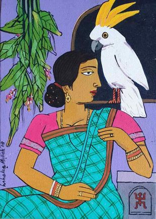 Woman With The Bird II by Ashoke Mullick, Expressionism Painting, Acrylic on Canvas, Tumbleweed color