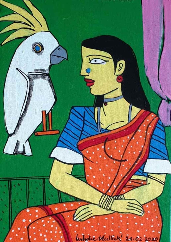 Woman With the Bird by Ashoke Mullick, Expressionism Painting, Acrylic on Canvas, Crail color