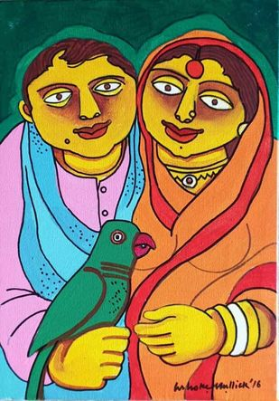 Couple with the Parrot by Ashoke Mullick, Expressionism Painting, Acrylic on Canvas, Te Papa Green color