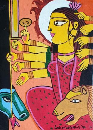 Shakti by Ashoke Mullick, Expressionism Painting, Acrylic on Canvas, Raw Sienna color
