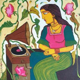 Listening to Music by Ashoke Mullick, Expressionism Painting, Acrylic on Canvas, Plantation color