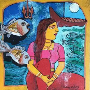 Woman with Fishes by Ashoke Mullick, Expressionism Painting, Acrylic on Canvas, Midnight Blue color