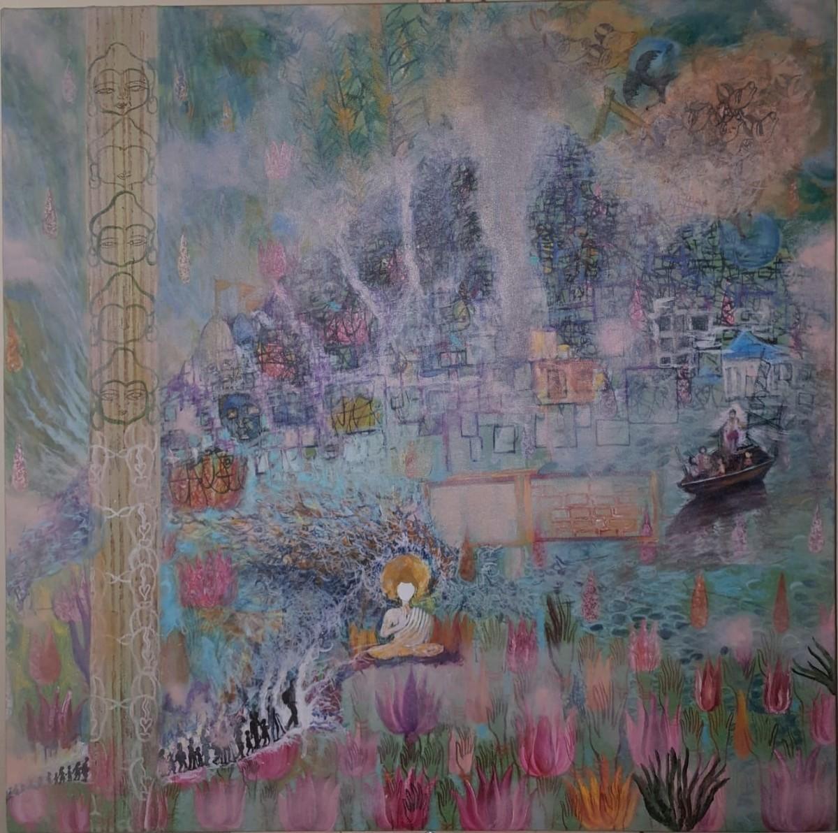 Untitled by Manisha Pandey Mishra, Impressionism Painting, Mixed Media, Salt Box color