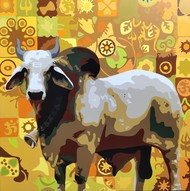 The Bull by Umakant Tawde, Expressionism Painting, Acrylic on Canvas, Tussock color