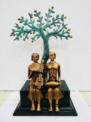 Two musician with tree by N.S. Rana, Art Deco Sculpture | 3D, Bronze, Quill Gray color