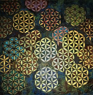 Flower of Life Mandala1 by Anita Saran, Art Deco Painting, Acrylic on Canvas, Sorrell Brown color