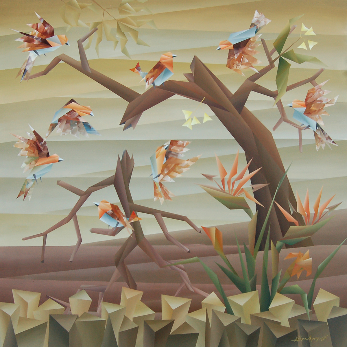 wedding by Nirakar Chowdhury, Expressionism Painting, Acrylic on Canvas, Pale Oyster color