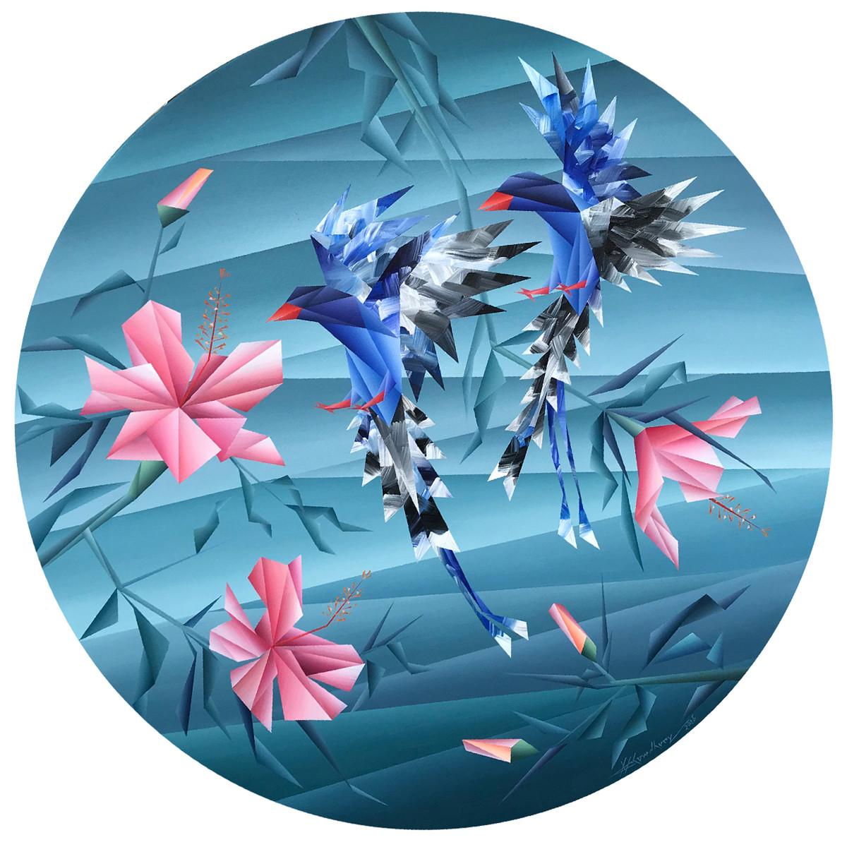 similarity by Nirakar Chowdhury, Expressionism Painting, Acrylic on Canvas, Wedgewood color