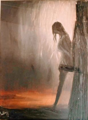 despair by Maitry Shah, Expressionism Painting, Oil on Canvas, Roman Coffee color