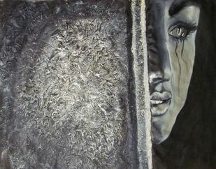 Tears by Maitry Shah, Expressionism Painting, Mixed Media on Canvas, Storm Dust color