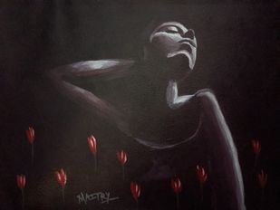 Unrequited dreams by Maitry Shah, Expressionism Painting, Acrylic on Paper, Cocoa Brown color