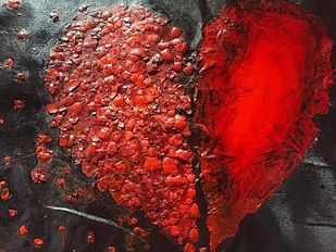 Broken heart by Maitry Shah, Abstract Painting, Mixed Media on Canvas, Valencia color