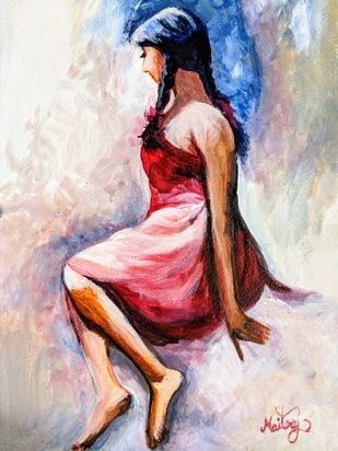 Waiting by Maitry Shah, Expressionism Painting, Acrylic on Canvas, Wafer color