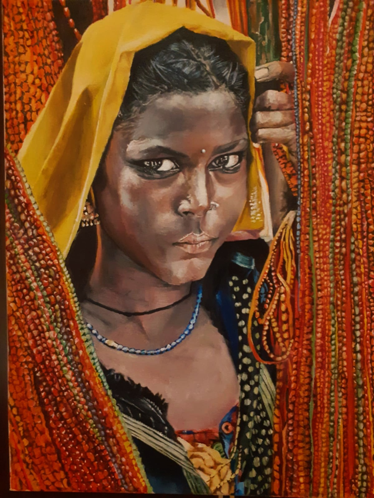 the unintimidated by Sriparna Ghose, Photorealism Painting, Acrylic on Canvas, Cumin color