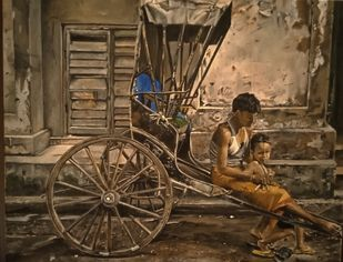 Lockdown 2020 Kolkata by Sriparna Ghose, Realism Painting, Acrylic on Canvas, Saddle color