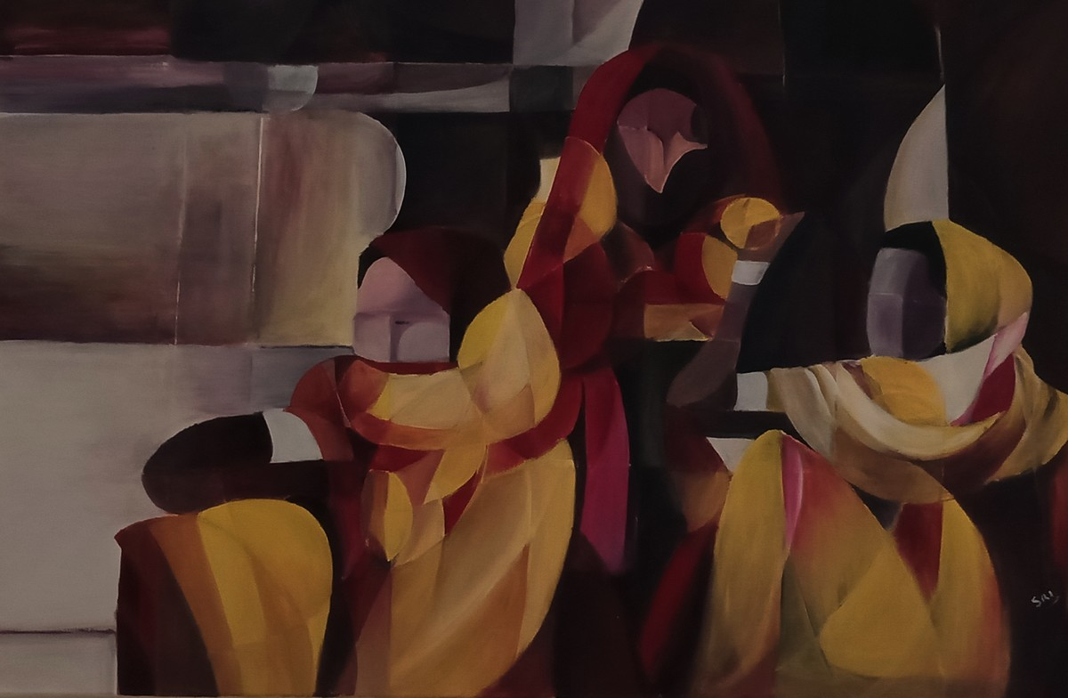 The Faceless by Sriparna Ghose, Expressionism Painting, Acrylic on Canvas, Licorice color
