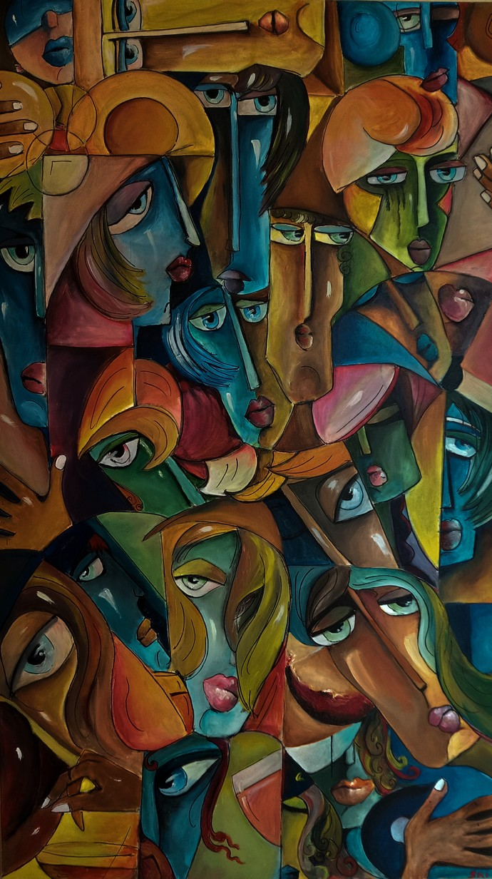 Lonesome Gathering by Sriparna Ghose, Expressionism Painting, Acrylic on Canvas, Zeus color