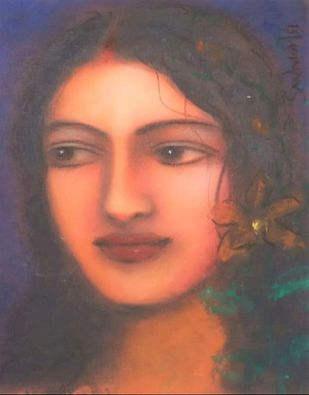 Radha - The Divine by Suhas Roy, Expressionism Painting, Dry Pastel on Paper, Zambezi color