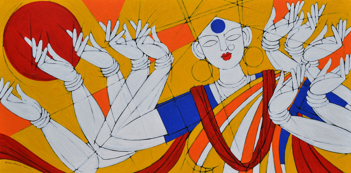 GODDESS DURGA Digital Print by Jiaur Rahman,Expressionism