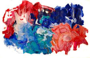 Amalgamation by Tasneem A Bharmal, Abstract Painting, Acrylic on Canvas, Orange color
