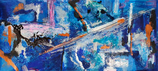 Azure by Tasneem A Bharmal, Abstract Painting, Acrylic on Canvas, San Marino color