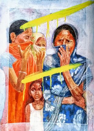 lockdown by Archana Rajguru, Impressionism Painting, Tempera on Paper, San Juan color