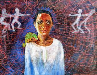 Labyrinth 1 by Archana Rajguru, Expressionism Painting, Tempera on Paper, Matterhorn color