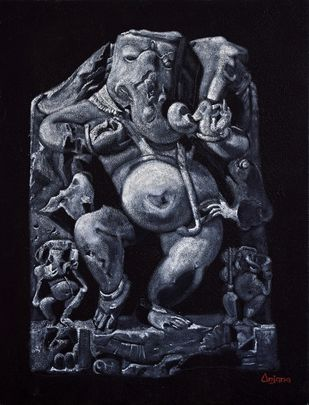 Ganesh Ji by Anjana Chevli, Photorealism Painting, Oil on Canvas, Bastille color