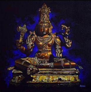 Shiva Sukhasanamurti by Anjana Chevli, Photorealism Painting, Oil on Canvas, Cinder color