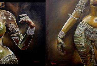 Mudra 1 & 2 (set of 2 paintings) by Anjana Chevli, Expressionism Painting, Oil on Canvas, Zeus color