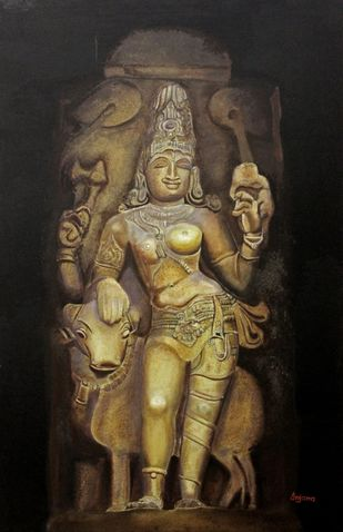 Ardhnarishwar by Anjana Chevli, Photorealism Painting, Oil on Canvas, Zeus color