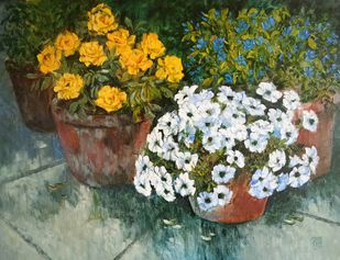 Garden Beauty by Swati Kale, Expressionism Painting, Oil on Canvas, Kelp color