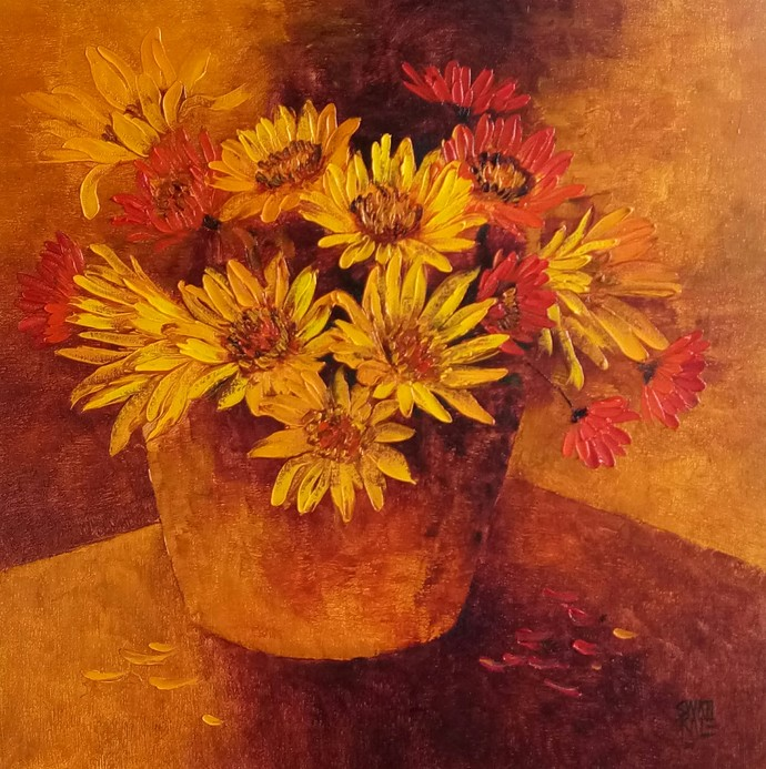 My flowers by Swati Kale, Expressionism Painting, Oil on Canvas, Bourbon color