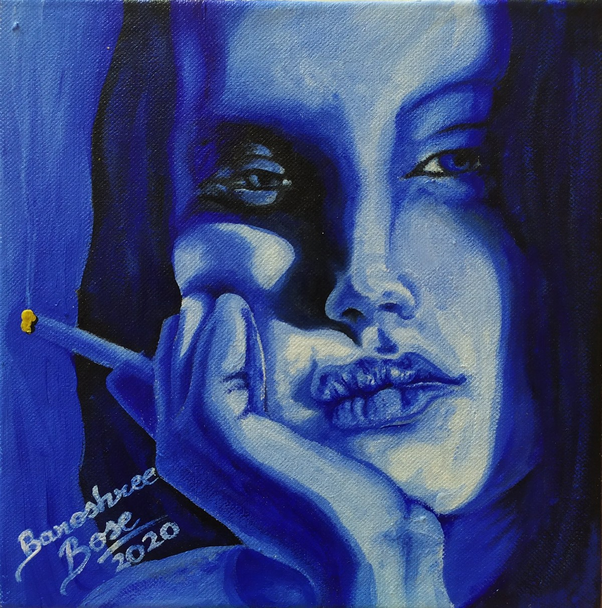Feeling Blue by Banoshree Bose, Expressionism Painting, Acrylic on Canvas, Mirage color