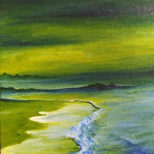 Tides by Banoshree Bose, Abstract Painting, Acrylic on Canvas, Pesto color