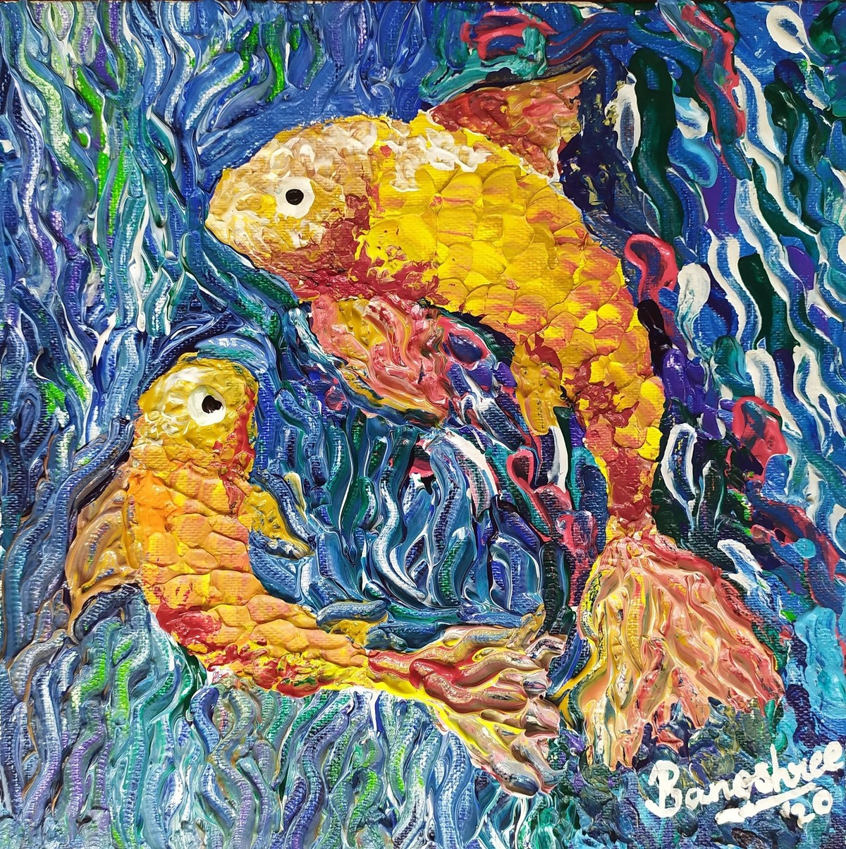 Pisces by Banoshree Bose, Expressionism Painting, Acrylic on Canvas, Harvest Gold color
