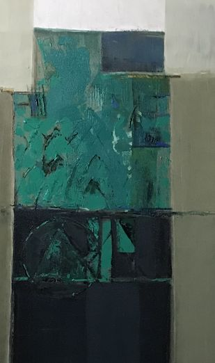 Nature festival by Sanjay Kumar, Geometrical Painting, Acrylic on Canvas, Mineral Green color