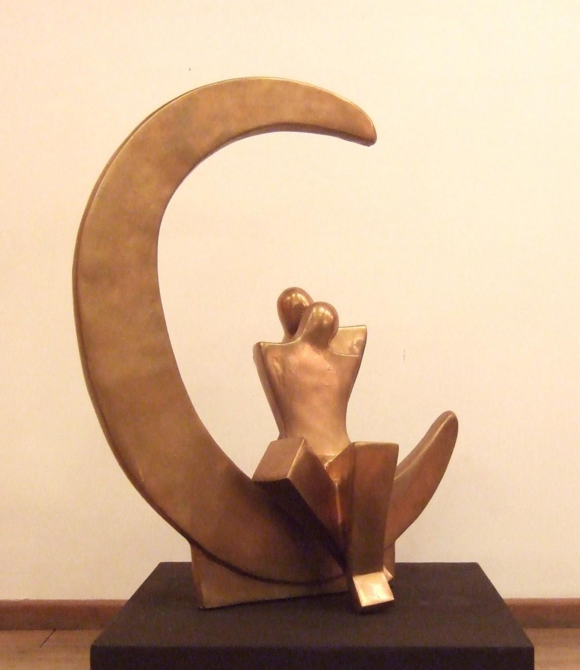 Romancing on the Moon by Sheela Chamariya, Art Deco Sculpture   3D, Fiber Glass, Givry color